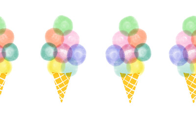 Ice cream waffle cones seamless repeating horizontal border. Hand drawn cute illustration of ice cream. se for card decor, summer party, kids, fabric trim, ribbons, footer, letterhead, advertising