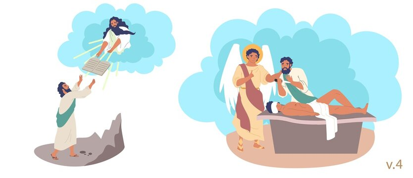 Moses, Abraham and Isaac Bible Stories characters, vector flat illustration. God giving Moses 10 Commandments on top of mount Sinai. Abraham going to kill his son to sacrifice him to God.