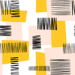 Abstract collage seamless pattern. Contemporary art seamless geometric block shapes background. Abstract feminine design black pink yellow for fabric, fashion, wallpaper