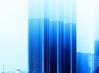 Blue skyscrapers abstract architecture background