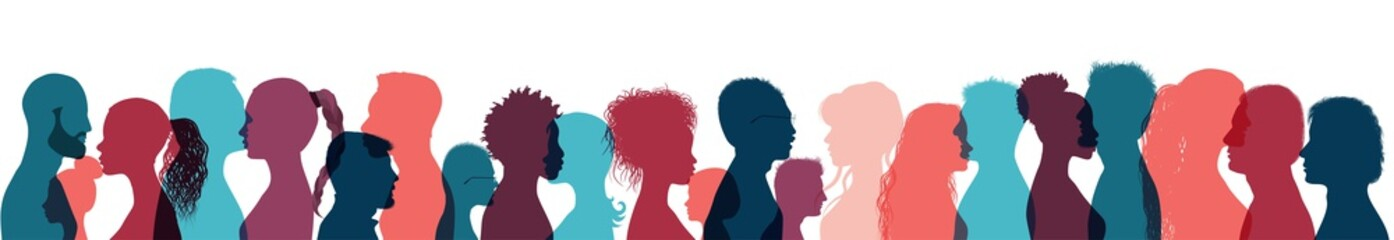 Neurology and psychiatry psychology concept.Silhouette human heads group people profile.Mental health education therapy. Cognition intelligence and memory.Thinking person. Help assistance Wall mural