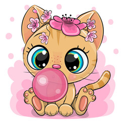 Cartoon Kitten with bubble gum on a pink background