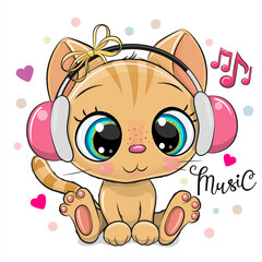 Cartoon Kitten with pink headphones on a white background