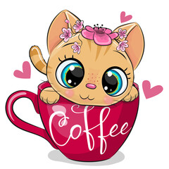 Cartoon kitten with a flowers is sitting in a Cup of coffee