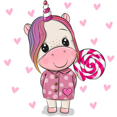 Cartoon Unicorn in coat and with Lollipop