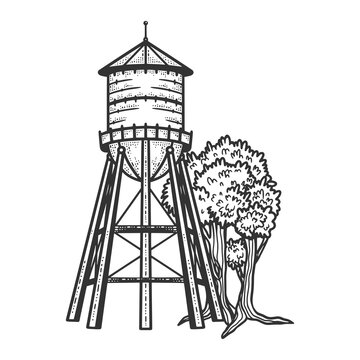 Water tower sketch engraving vector illustration. T-shirt apparel print design. Scratch board imitation. Black and white hand drawn image.
