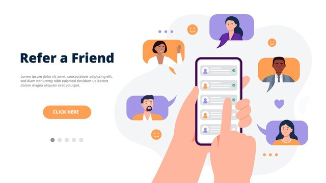 Referral program concept. Hands holding a phone with contacts of friends. Social media marketing for friends. Trendy flat vector illustration for banners, landing page template, mobile app.