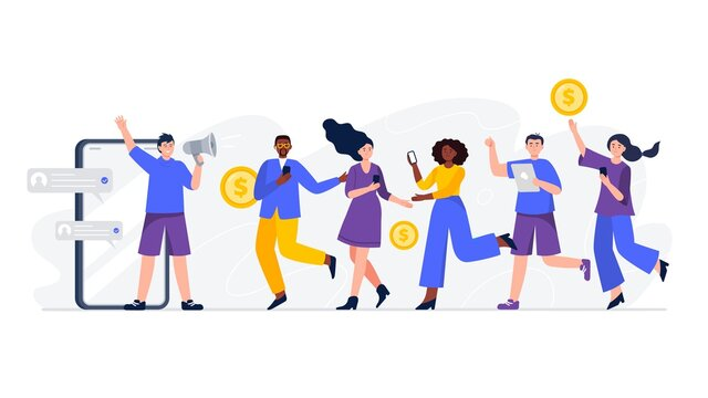 Refer A Friend loyalty program. Group of people or customers are holding phones and join the referral program. Trendy flat vector illustration for banners, landing page template, mobile app.