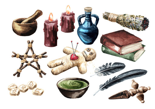 Big Witchcraft, Magic, occult and esoteric elements set. Hand drawn watercolor illustration, isolated on white background