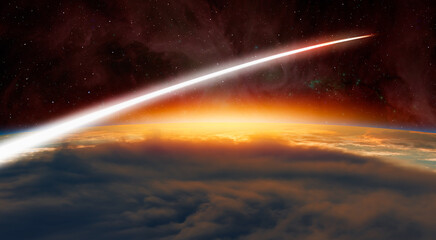 Fotomurales - Planet Earth with a spectacular sunset -  Long Exposure Night Time Rocket Launch