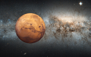 Wall Mural - Planet of Mars with Milkyway galaxy -