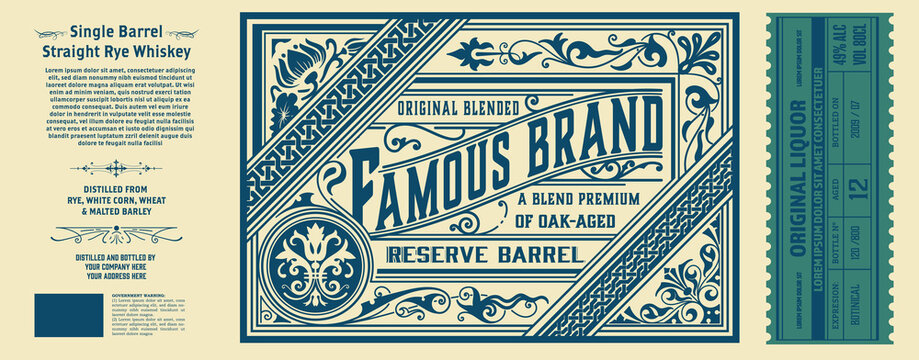 Vintage label for packing. Western style with floral details.