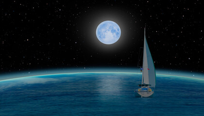 Wall Mural - Sailing luxury yacht along the route over the Earth with moon