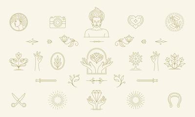 Vector line feminine decoration design elements set - women face and gesture hands illustrations simple linear style