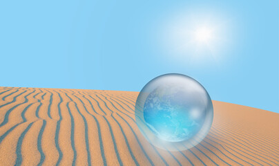 Wall Mural - Global warming concept - The world protected from sun rays in the crystal ball on sand dune (Desert)