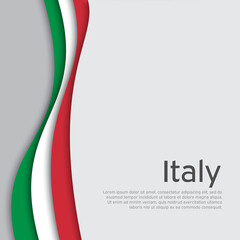 Abstract waving italy flag. Creative background in Italy flag colors for holiday card design. National Poster. State Italian patriotic cover, business booklet, flyer. Paper cut. Vector design