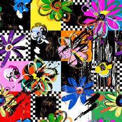 abstract floral background, with squares, paint strokes and splashes, seamless