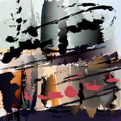 abstract painting background illustration, with splashes and strokes