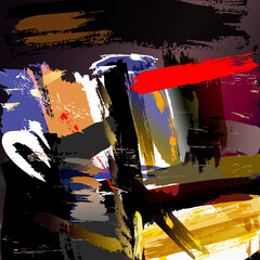 abstract background composition, with paint strokes and splashes