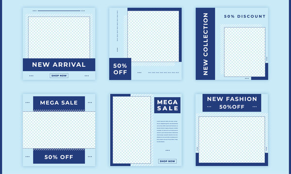 social media post bundle illustrator blue fresh fashion facebook Instagram LinkedIn advertising  template poster picture design
