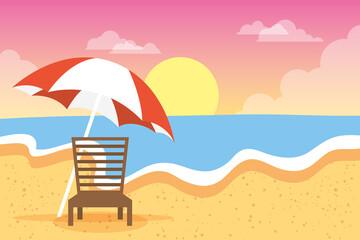 Wall Mural - beach chair and umbrella summer vacations scene