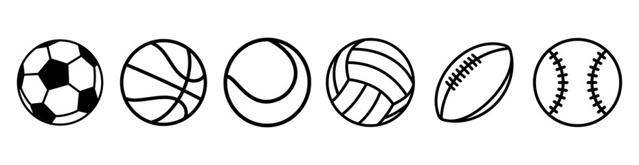 Sport balls set. Ball icons. Balls for Football, Soccer, Basketball, Tennis, Baseball, Volleyball. Vector illustration