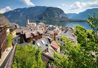 Picturesque views of the famous Hallstatt mountain village with Lake Hallstatter.