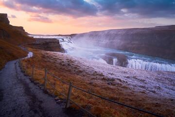 Gullfoss waterfall Iceland landscape travel outdoor beautiful sunset