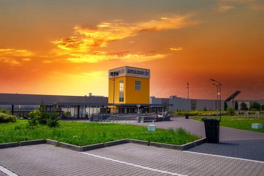 Bad Hersfeld, Germany, 22.06.2020: Amazon warehouse & distribution centre building handles online shopping retail internet & technology business development