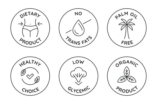 Vector set of badges and logo design templates for healthy food packaging