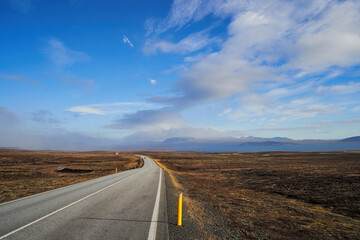 Iceland landscape, road panorama beautiful islandic nature outdoor