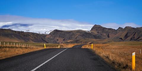 Iceland glacier landscape, road panorama beautiful islandic nature outdoor