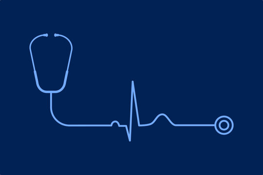 Stethoscope with EKG line on blue background. Simple cardiology and healthy heart concept. Normal heart beat. Medical exam and diagnostics. Cardiovascular system. Vector illustration, flat clip art.
