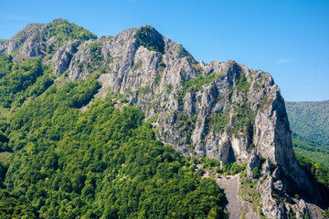 rocks and cliff of romania gorges. beautiful mountain landscape view. scenic nature of apuseni natural park. sunny day.