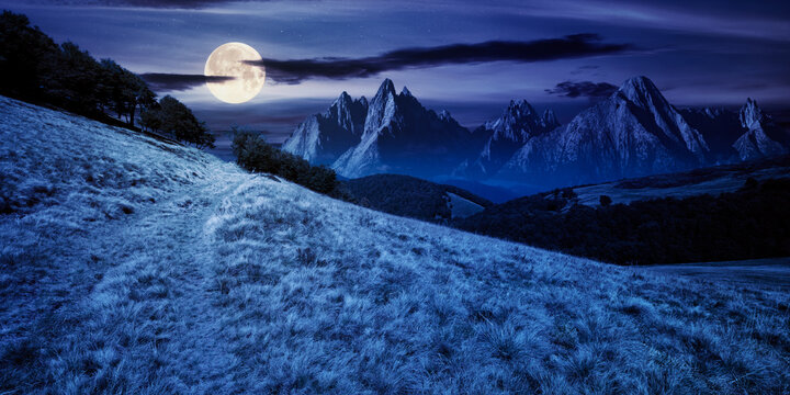 composite mountain landscape at night. path through meadow. distant tatra ridge in full moon light. beech forest on the hill. mystery and witchcraft concept