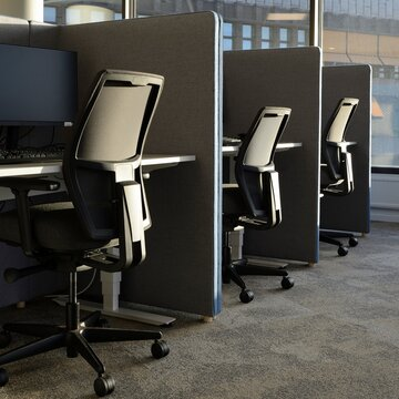 Empty office chairs in a row