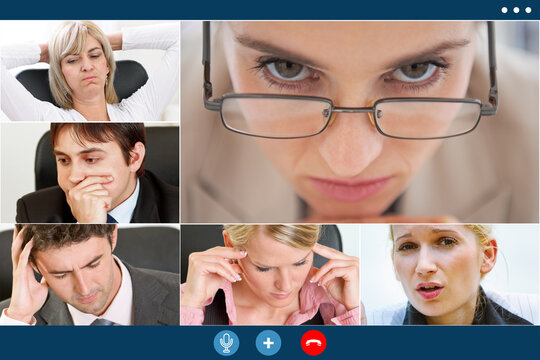 stressed colleagues having video meeting try to overcome crisis