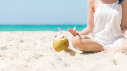 Summer Vacation. Lifestyle tourism woman  relax and yoga pose balance body vital  zen and meditation for workout on beach