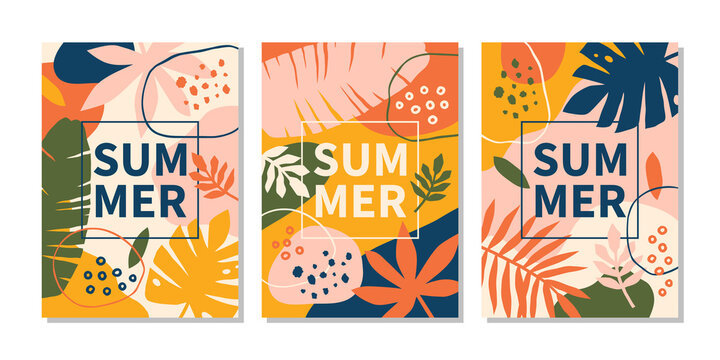Modern abstract summer design templates with bright leaves and plants.