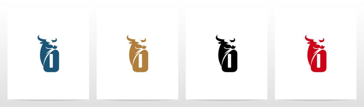 Buffalo Head On Letter Logo Design O