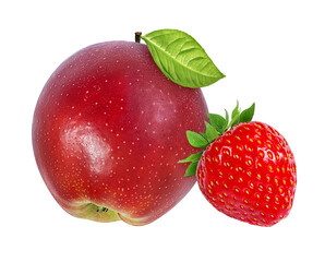 Wall Mural - apple and strawberry  on a white background