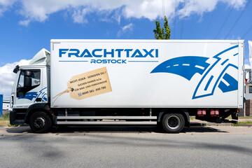 ROGGENTIN, GERMANY - JUNE 14, 2020: Iveco Eurocargo of Frachttaxi Rostock