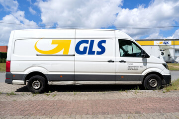 ROGGENTIN, GERMANY - JUNE 14, 2020: GLS delivery van. General Logistics Systems B.V. was founded in 1999 and is a subsidiary of British postal service Royal Mail.