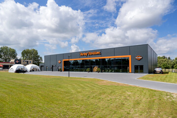 ROSTOCK, GERMANY - JUNE 14, 2020: Harley-Davidson dealer. Harley-Davidson is an American motorcycle manufacturer founded in 1903 in Milwaukee, Wisconsin