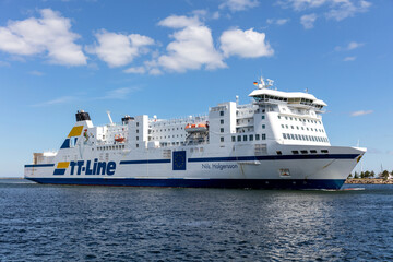 ROSTOCK, GERMANY - JUNE 14, 2020: TT-Line ferry NILS HOLGERSSON inbound Rostock.