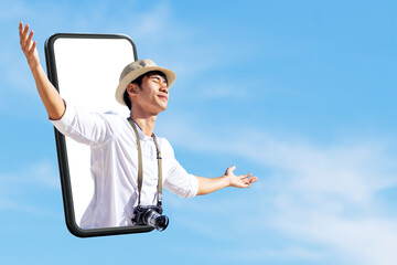 New normal digital 360 virtual tour experiance, safe travel bubble, travel solution leisure technology concept. Young attractive happy asian man close eyes, wide open arm thru out phone. Fotobehang