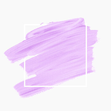 Lavender brush stroke paint over square frame isolated on white background. Vector.