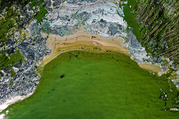 An aerial view of toxic blue-green algae bloom on the Baltic Sea coast at Tyreso near Stockholm