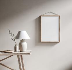 Fototapeta Mockup poster frame with ethnic decor close up in loft interior, 3d render obraz