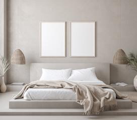 Mock up frame in bedroom interior background, 3d render